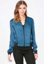 Bebe Satin Bomber Jacket