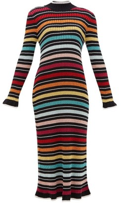 Mary Katrantzou Rainbow-stripe Rib-knitted Dress - Black Multi
