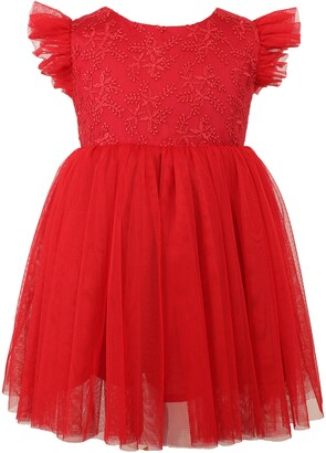 Popatu Tulle Flutter Sleeve Dress