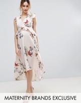 Hope And Ivy Maternity Hope & Ivy Maternity Floral Print Hi Lo Midi Dress