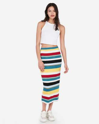 Express High Waisted Multicolor Striped Ribbed Midi Skirt