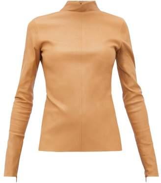 Bottega Veneta High-neck Leather Top - Womens - Camel