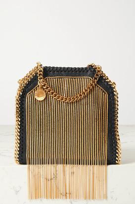 Stella McCartney The Falabella Tiny Embellished Vegetarian Brushed-leather Shoulder Bag - Black