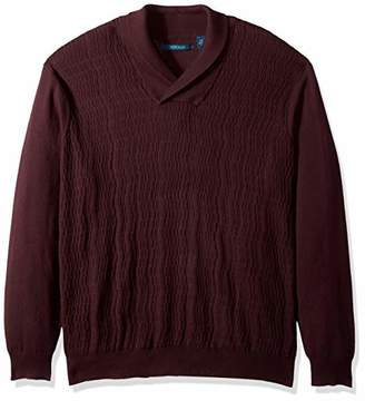 Perry Ellis Men's Big and Tall Cable Knit Shawl Collar Sweater