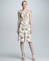 Carolina Herrera Chair-Print Cap-Sleeve Dress, Tan/White
