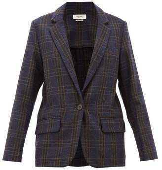 Etoile Isabel Marant Charly Single Breasted Checked Wool Blazer - Womens - Navy
