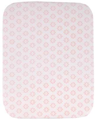 NoJo Chantilly Pink and White 100% Cotton Floral Print Fitted Crib Sheet