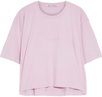 Acne Studios Cylea Cropped Embossed Cotton-jersey T-shirt