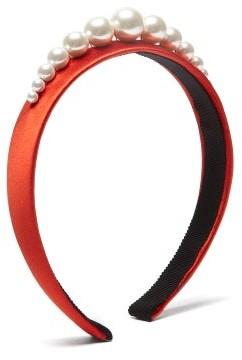Benoit Missolin Stella Imitation Pearl-embellished Silk Headband - Womens - Red
