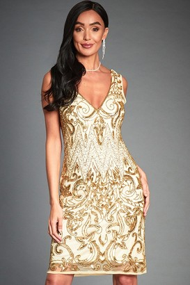 Jywal London Angie Gold Embellished Mini Flapper Dress