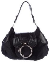 Tod's Leather-Trimmed Ponyhair Hobo