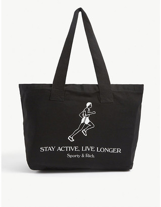 Sporty & Rich Live Longer slogan-print cotton tote bag