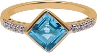 A B Davis 9ct Yellow Gold Princess Cut Topaz and Diamond Shoulder Cocktail Ring