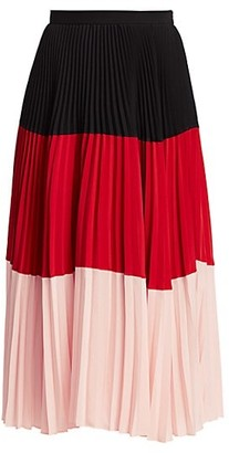 Akris Punto Colorblock Plisse Pleated Midi Skirt