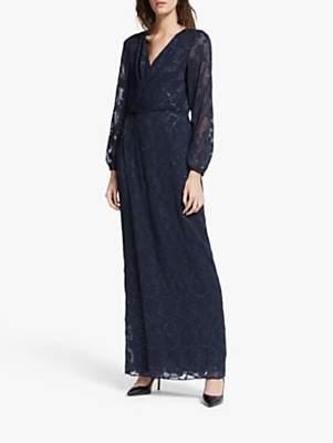 Ralph Lauren Ralph Annaliese Long Sleeve Evening Dress, Navy/Silver