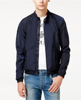 Armani Exchange Men's Lightweight Blue Logo Bomber Jacket with Black Accents