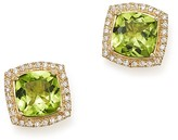 Bloomingdale's Peridot Cushion and Diamond Stud Earrings in 14K Yellow Gold