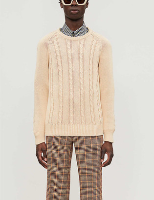 Gucci Cable-knit relaxed-fit cotton-knit jumper