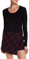 Cotton Emporium Fitted Crop Rib Knit Sweater