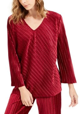 Alfani Petite Ribbed Velvet Top, Created For Macy's