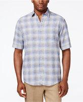 Tasso Elba Men's Big and Tall Linen Plaid Short-Sleeve Shirt, Classic Fit