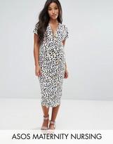 Asos NURSING Dress With Twist Knot In Animal Print