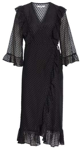 Ganni Swiss Dot Tulle Wrap Dress