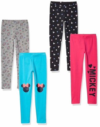 Spotted Zebra Little Girls' Mickey and Minnie Mouse 4-Pack Leggings