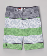 Micros Charcoal Stripe Floral Flo Board Shorts - Boys