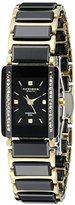 Akribos XXIV Women's AK522BKG Quartz Movement Watch with Black Dial and Yellow Gold and Black Ceramic Bracelet