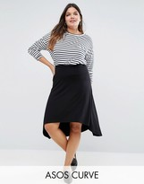 Asos Midi Skater Skirt with High Low Hem