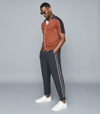 Reiss Liam - Tapered Trousers With Side Stripe in Navy