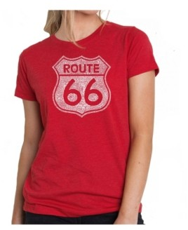 La Pop Art Women's Premium Word Art T-Shirt - Route 66