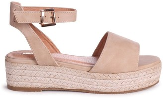 Linzi DYNASTY - Nude Suede Espadrille Inspired Two Part Flatform With Buckle Detail