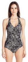 Calvin Klein Women's Black Snake Bar Halter One-Piece Swimsuit