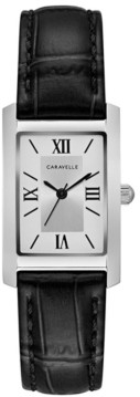 Caravelle Designed by Bulova Women's Black Leather Strap Watch 21x33mm