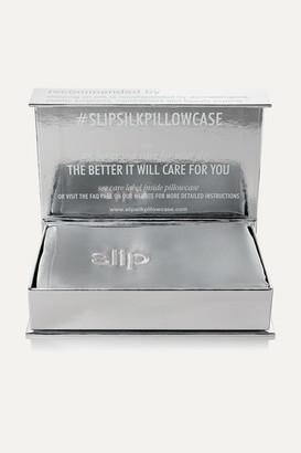 Slip Embroidered Silk Queen Pillowcase - Silver