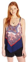 My Michelle Women's V Neck Top with Scarf Print and Necklace
