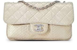 Chanel Gold Quilted Python Shoulder Bag
