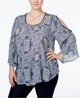 INC International Concepts Plus Size Cold-Shoulder Blouse, Only at Macy's