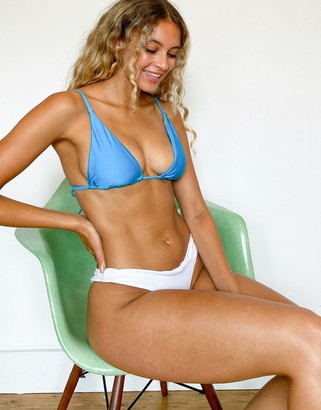 Topshop shiny apex triangle bikini top in turquoise