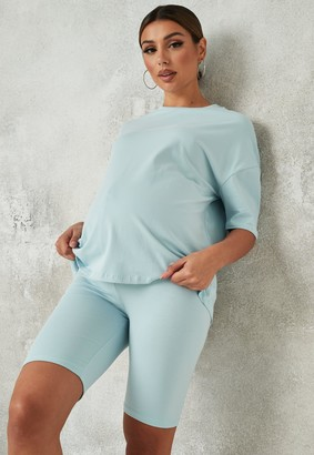 Missguided Blue Maternity T Shirt And Cycling Shorts Co Ord Set