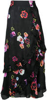 Preen by Thornton Bregazzi pansy print layered frill trim skirt