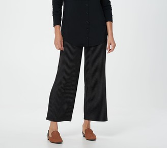 Joan Rivers Classics Collection Joan Rivers Pinstripe Petite Wide Leg Pull-On Ankle Pants