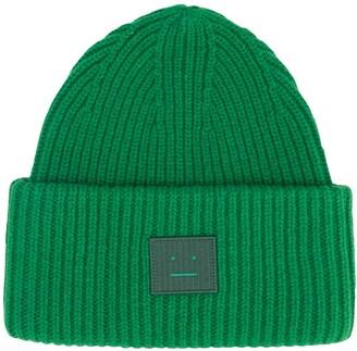 Acne Studios Face-Motif Logo-Patch Beanie Hat