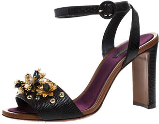 Dolce & Gabbana Black Lizard Embossed Leather Bejeweled Floral Pearls Ankle Strap Sandals Size 41