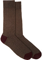 Barneys New York MEN'S COTTON-BLEND MID-CALF SOCKS-BROWN, BURGUNDY