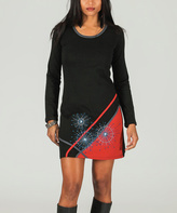 Aller Simplement Black & Red Geometric Bodycon Dress