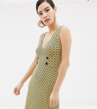 Miss Selfridge pinny dress with button detail in yellow jacquard