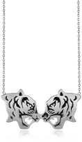 Kenzo Rhodium Silver and Black Lacquer Fighting Tiger Necklace